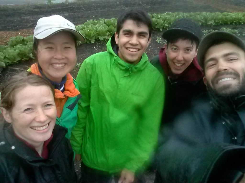 Cass, me, Gerson, Dennis, and Scott after a very wet harvest day on Monday